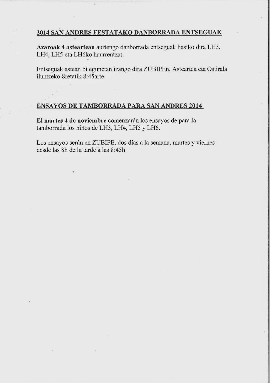 2014 SAN ANDRES FESTATAKO DANBORRADA ENTSEGUAK