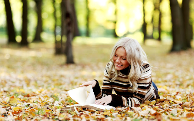 Blonde Girl Reading Book on Yellow Leaves HD Autumn Wallpaper
