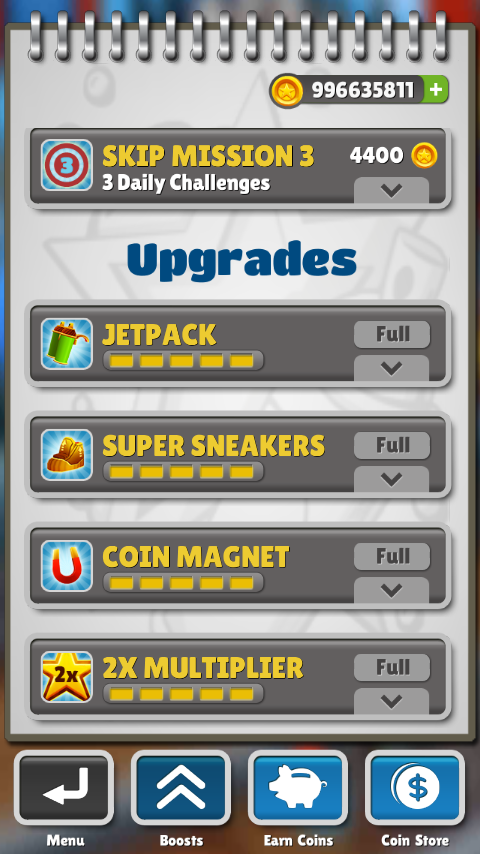 Jetpack, Sneakerss, Coin Magnet, 2x Multiplier Fully Upgraded