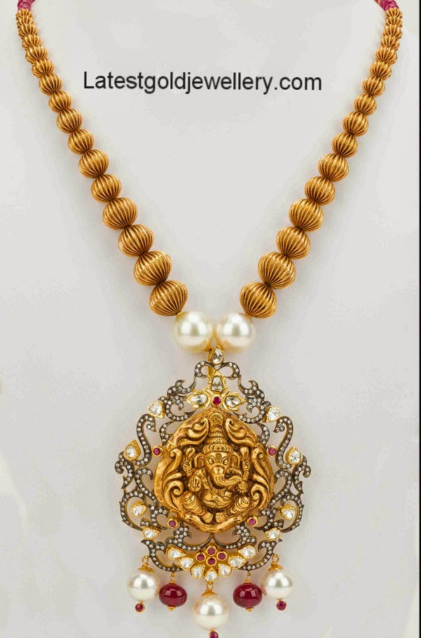 Antique gold balls necklace with ganesh pendant latest gold vignesh gold pendant mozeypictures Gallery