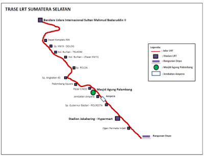 peta lintas layanan LRT Sumsel