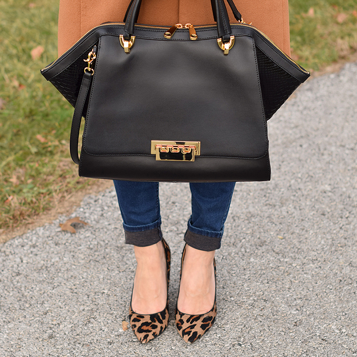 shein coat, skinny jeans, zac posen eartha bag, nine west leopard pumps, black friday 2015