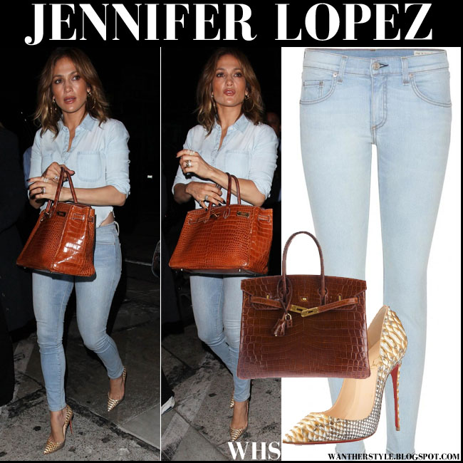 Jennifer Lopez in denim shirt, skinny jeans, crocodile brown Hermes Birkin bag and snake pumps august 7 what she wore