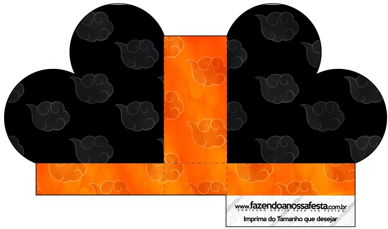 Caja abierta en forma de corazón de Naranja y Negro con Nubes.