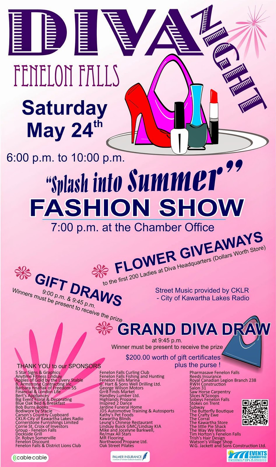 Fenelon Falls Kawartha Lakes May 24 2014 Splash into Summer Event Poster Diva Night Poster