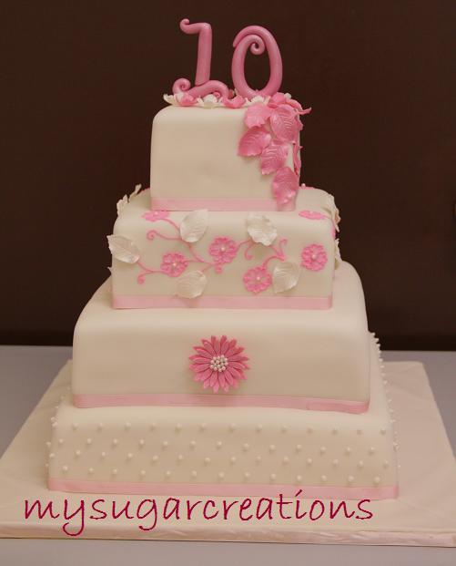15recipe 6 9 12 14 square Classic Vanilla Cake for a 10th wedding