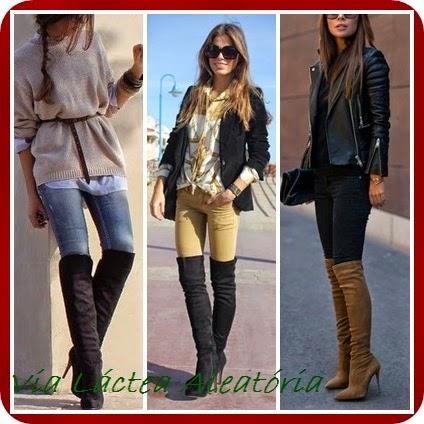 Looks de inverno usando botas cano alto e calças.