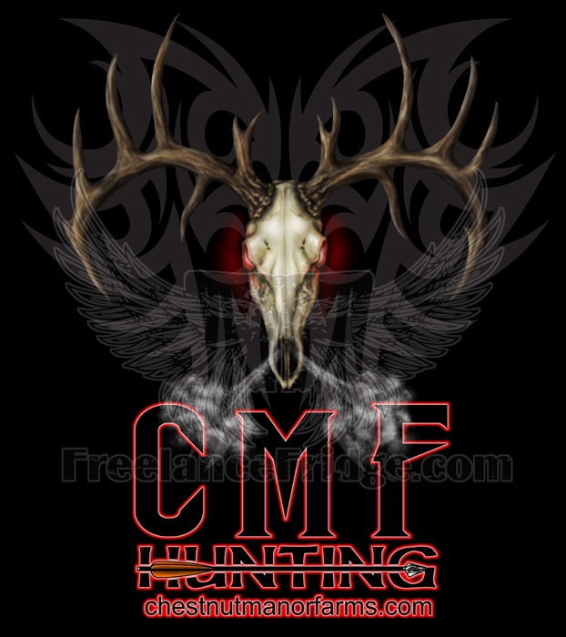... painted hunting t-shirt design featuring an tough, evil deer skull