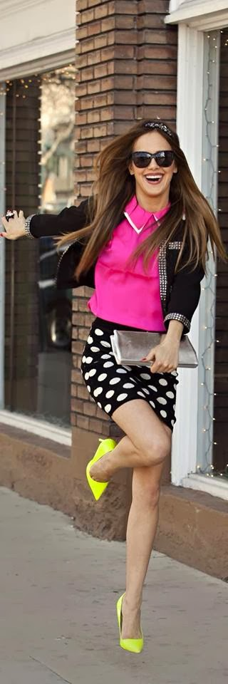 Colorful Style - White Mottled Black Skirt, Pink Blouse and Black Jacket, Yellow Stiletto, Silver Clutch Bag