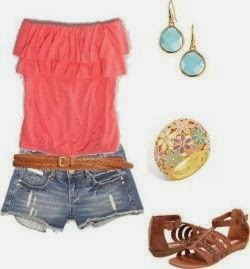 summer outfit- casual comfortable; Fun outfit for the beach or a pool party red blouse and shot