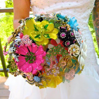 Colourful Amanda Jane Heer brooch bouquet