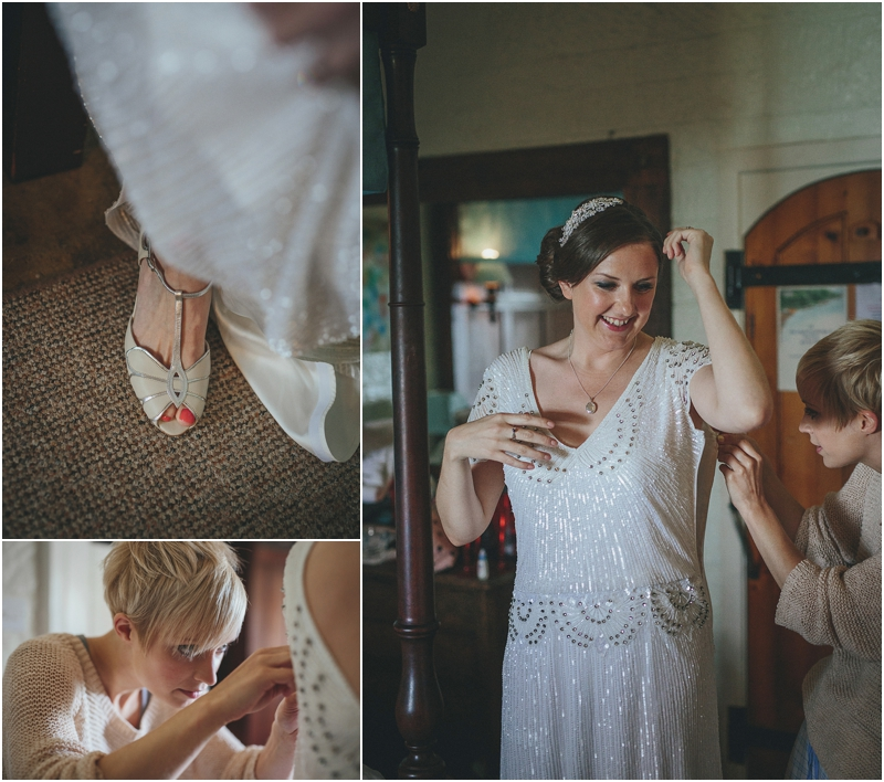 Bride putting on dress and shoes