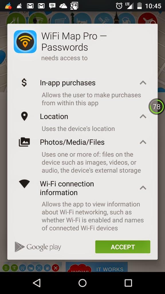 توضيح هام بالنسبة لصلاحيات تطبيق Wifi Map على أندرويد
