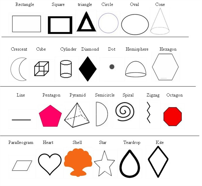 Worksheets List Of Images Shapes And The Names learn english with pleasure shapes in you find below a list about the name english