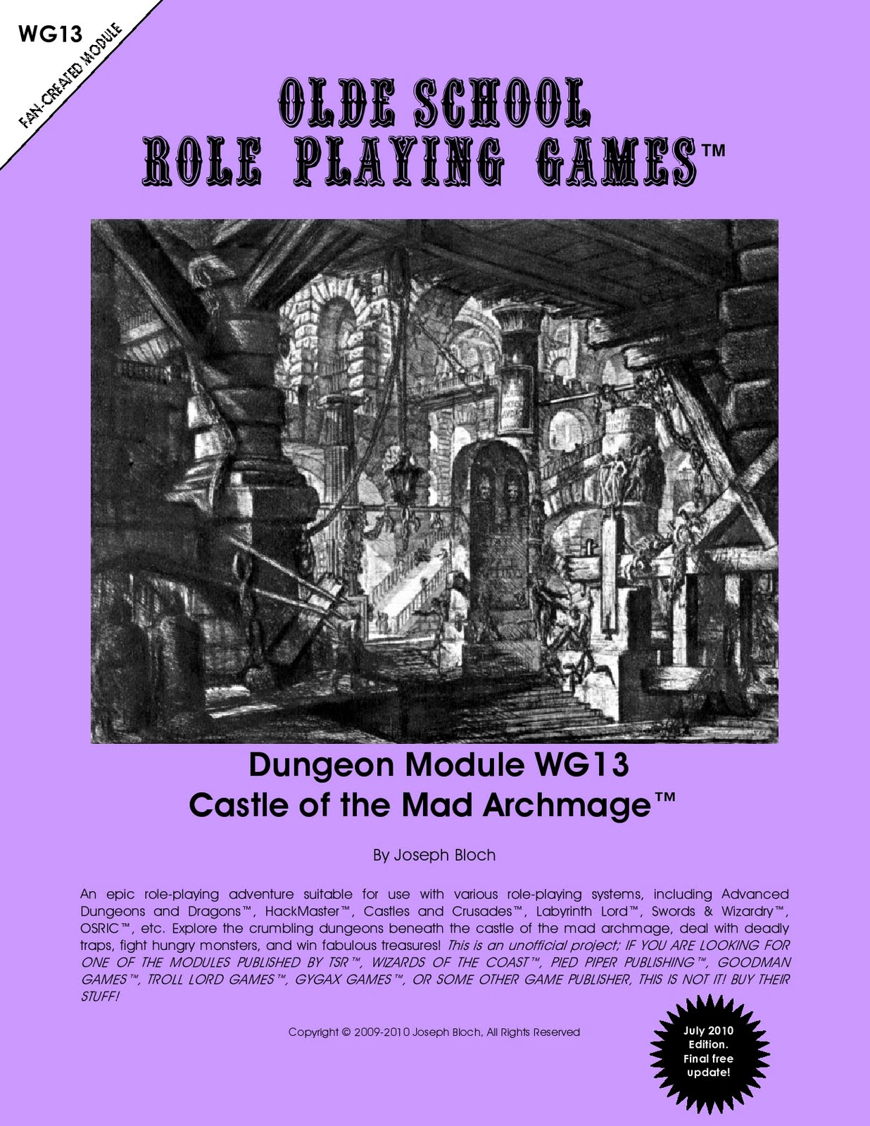 For A While, You Could Freely Download The U0027Castle Of The Mad Archmageu0027 By  Joseph Bloch. He Designed This With Admirable The Goal To Supply The  Remaining ...