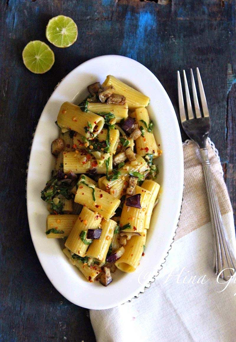 Spinach and Eggplant Rigatoni with Lemon Cream Sauce