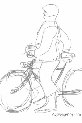 Biking is faster, gesture drawing by Artmagenta.