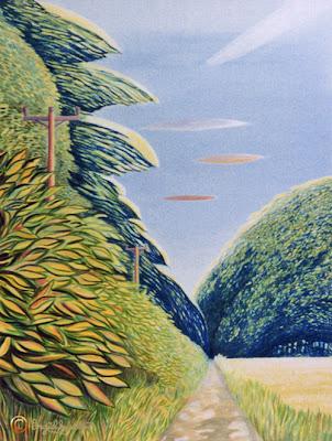 Grey Towers Farm Lane by North East artist Ingrid Sylvestre acrylic North East art for sale Durham artists Ingrid Sylvestre