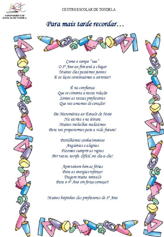 Poemas Para Fin De Ano Escolar