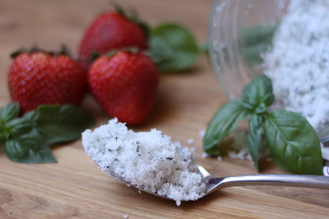 Sweet Basil Sugar with Strawberries recipe by Barefeet In The Kitchen