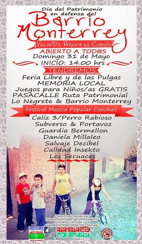 CONCHALÍ: ACTO EN DEFENSA DEL BARRIO MONTERREY ¡Vecinos: Ahora es Cuando!