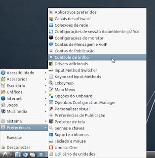 Controle de brilho no menu Preferências - screenshot