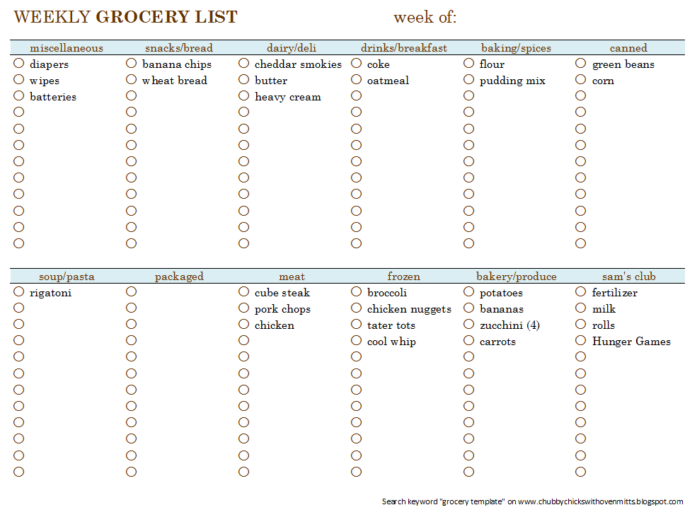 Chubby Chicks With Oven Mitts: Weekly Menu Planning