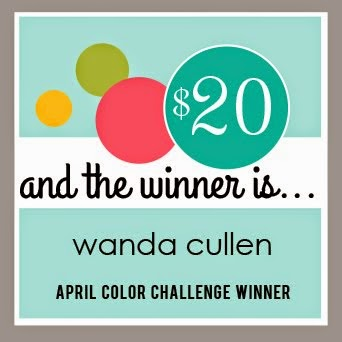 Yay!  I'm the April Reverse Confetti Color Challenge winner!