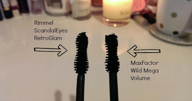 Comparison of Rimmel retro glam wand and Max Factor wild mega volume wand