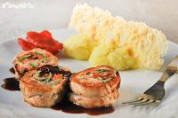 Solomillo relleno de mozzarella, tomates semisecos y salvia