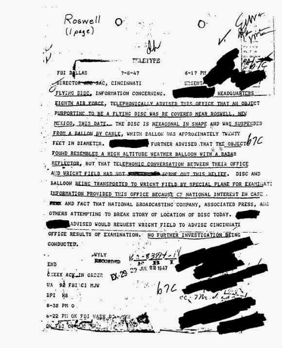Official teletype send by FBI Dallas Field Office on July 8, 1947