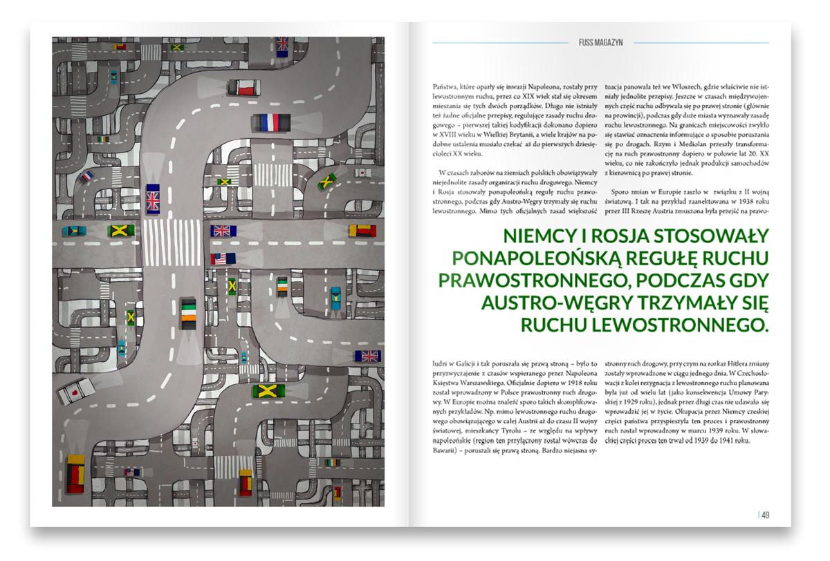 urbaniak ilustracje magazyn fuss ruch lewostronny droga na opak