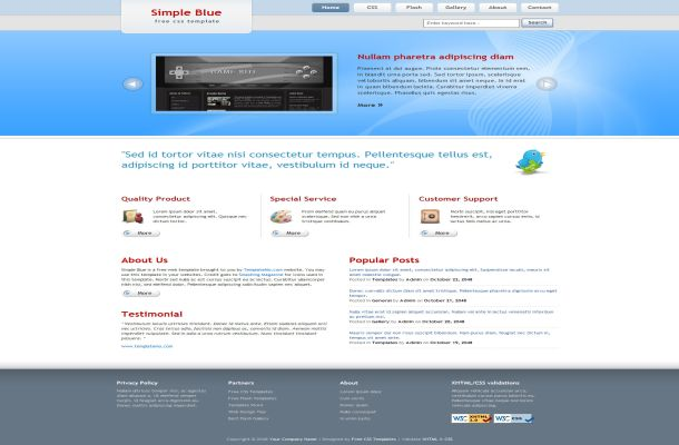 Free Simple Light Blue HTML CSS Website Template