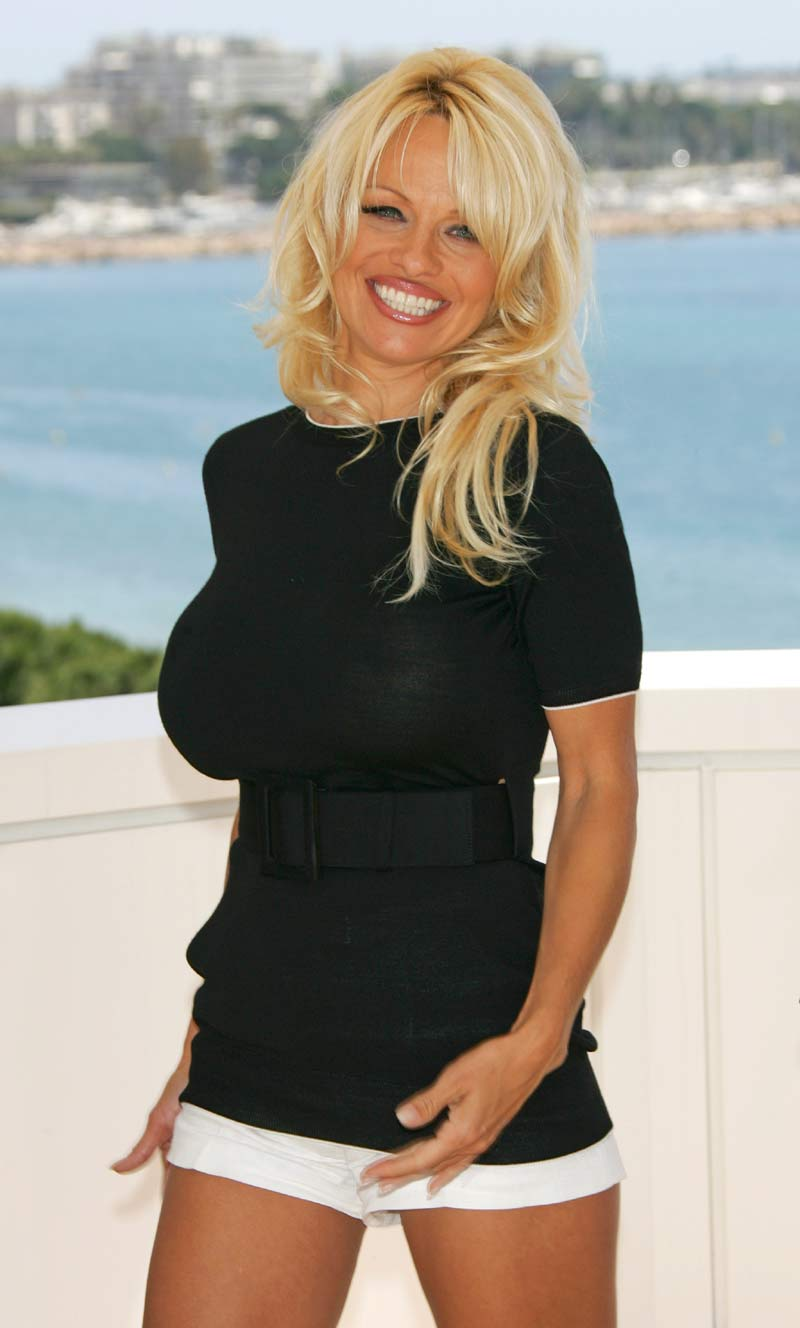 fun unlimited pamela anderson in cute short black dress. Black Bedroom Furniture Sets. Home Design Ideas