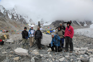 Mount Everest with group of people