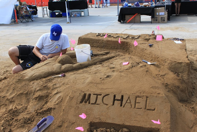 Another amateur is working on his sculpture at the U.S Sand Sculpting Challenge 2012 in San Diego, California, USA
