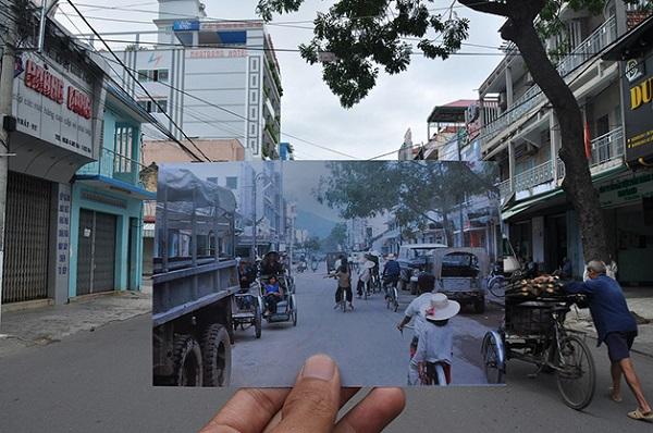 fotografias sobrepostas revelam passado e presente do Vietnã