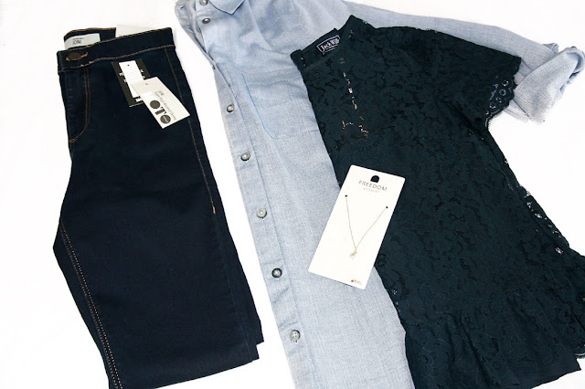 Katherine Penney Chic Blogger Fashion Haul Navy Blue Topshop Jack Wills Lace Shirt Top Jeans