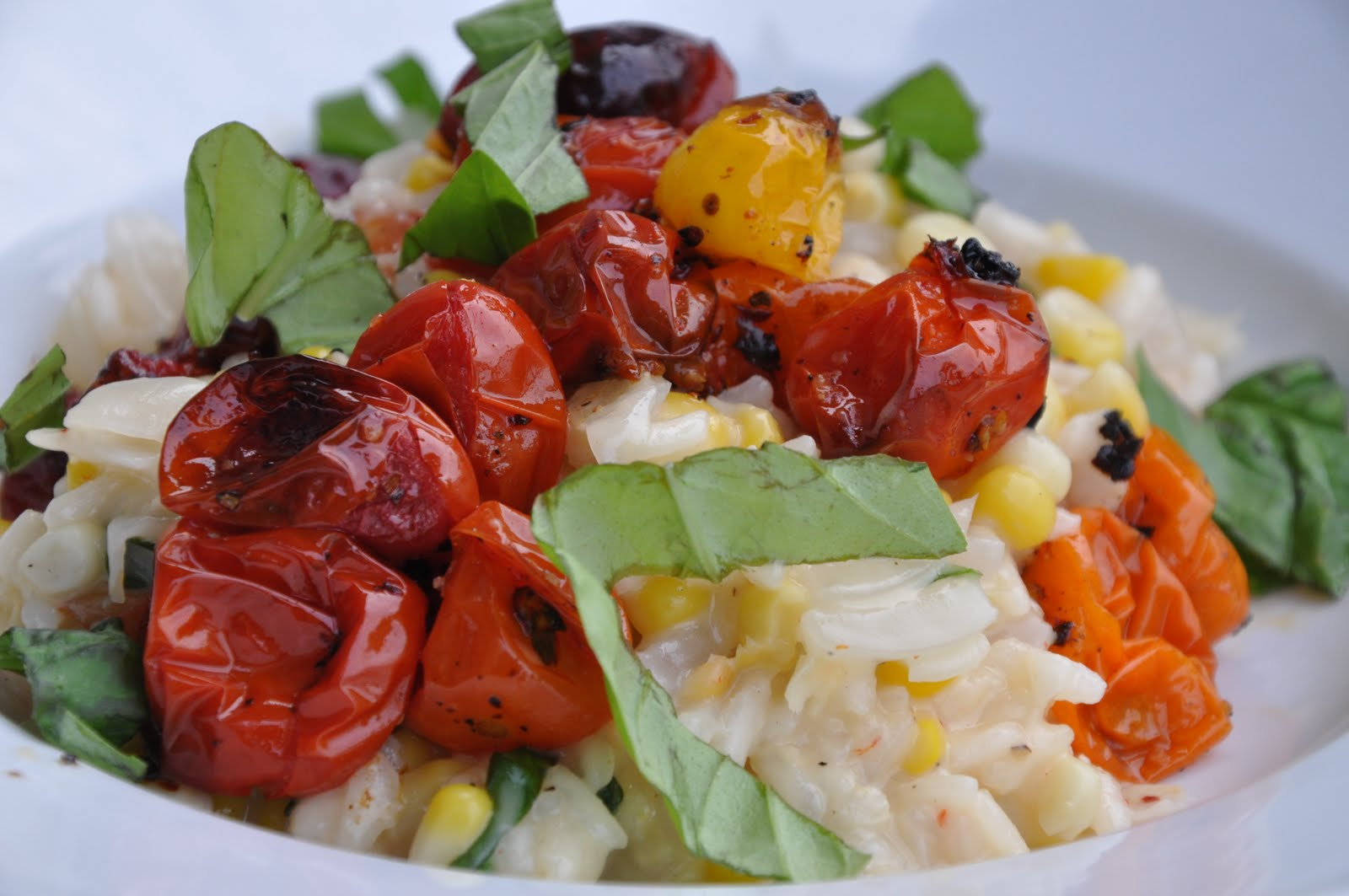 and shrimp risotto with corn spicy sausage and wilted arugula tomato ...