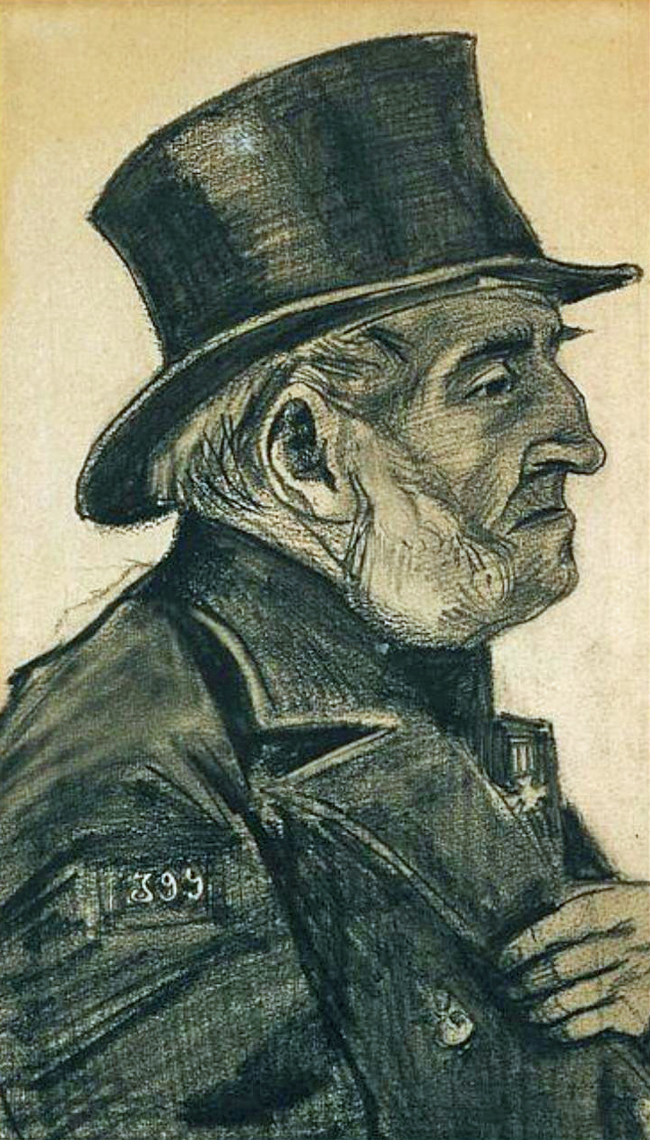 art artists vincent van gogh drawings part  1882 orphan man top hat charcoal and crayon on paper