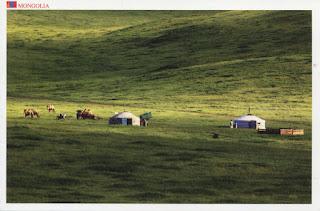postcard, mongolia, ger, grass