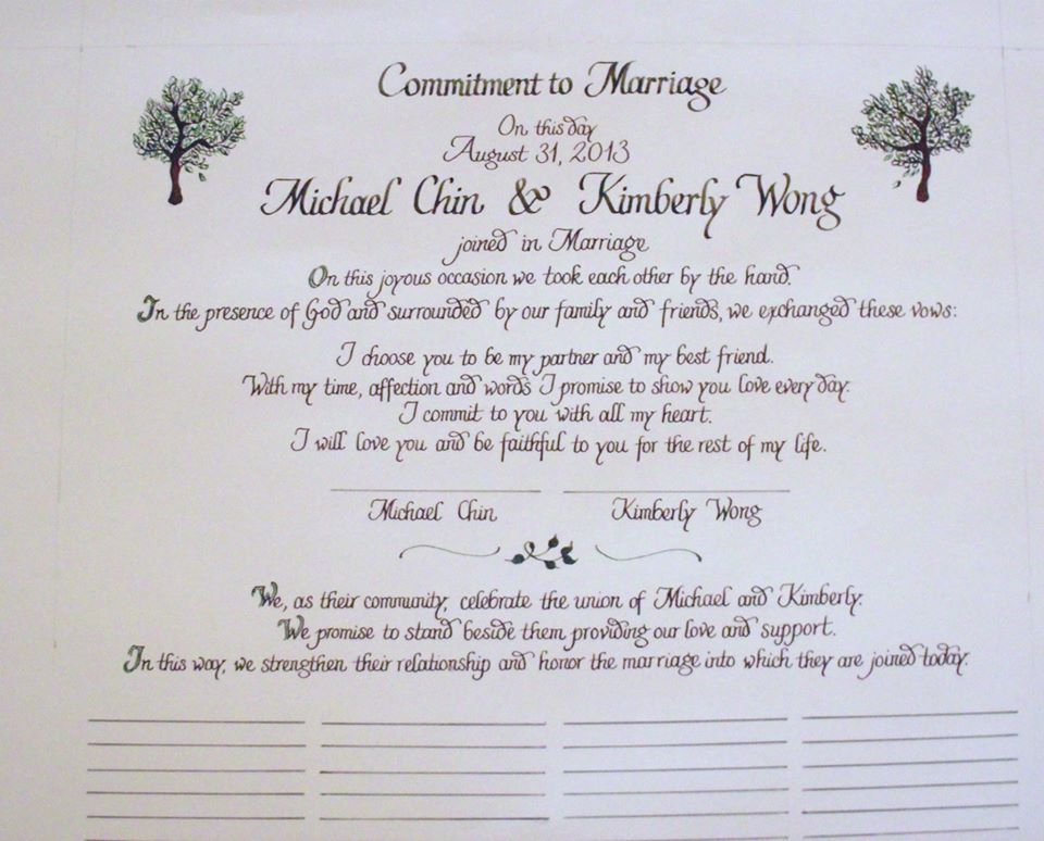 From the Ash Tree Meadow...: Wedding Ceremony Calligraphy ...