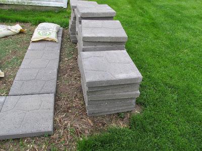 patio stones stacked