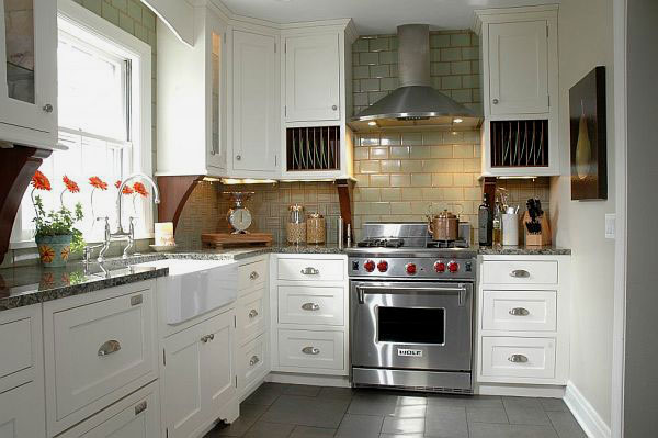 Blue Gray Kitchen Walls With Black Appliances And Slate Basksplash