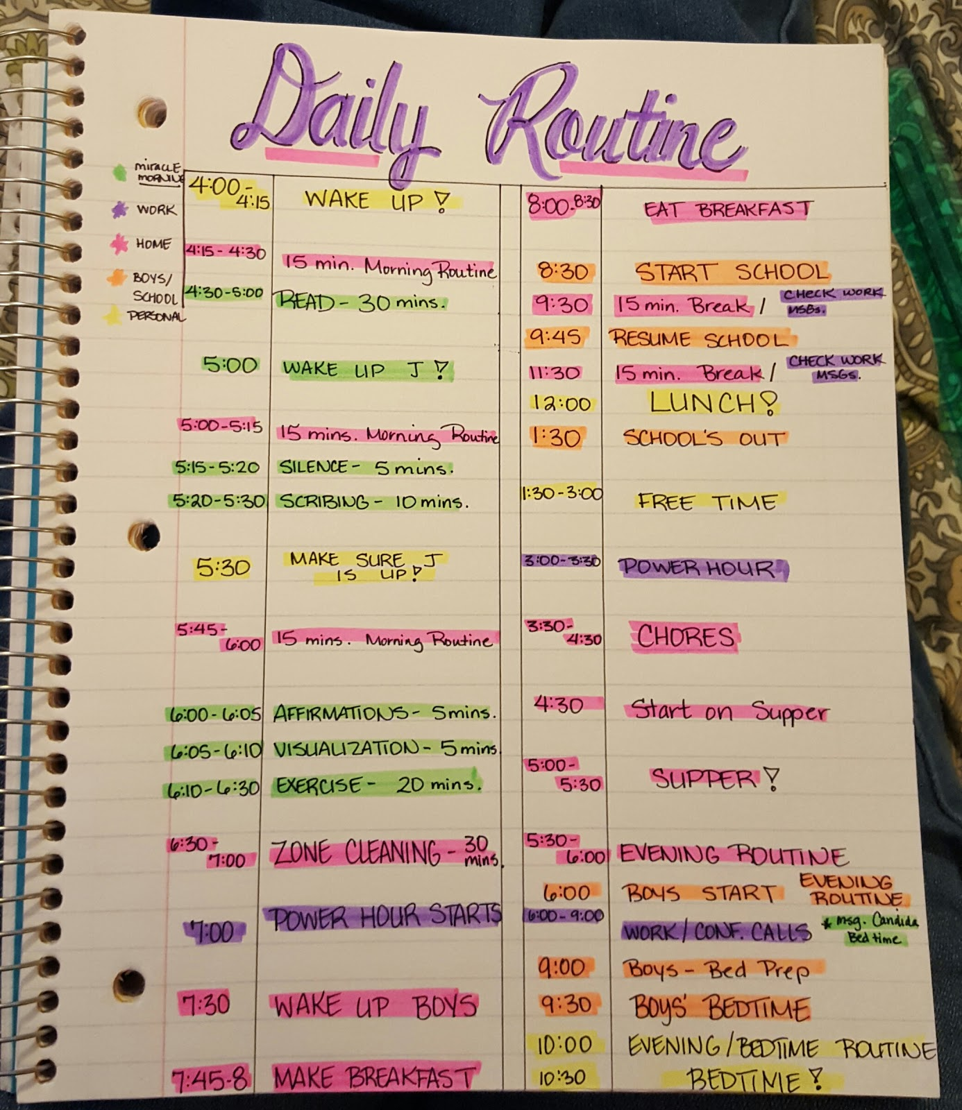 how to make a personal schedule