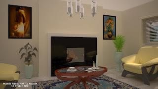 Sala de estar provista de chimenea