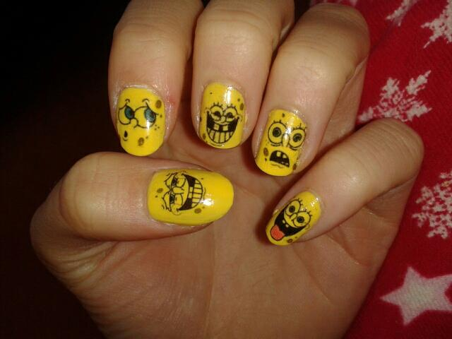 Nail art designs spongebob nails prinsesfo Image collections