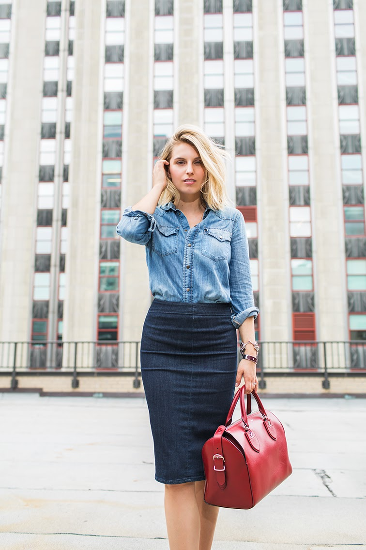 Fashion Over Reason X Keaton row, Madewell chambray top, MiH denim pencil skirt, Bally Switzerland red leather bag, Empire State Building