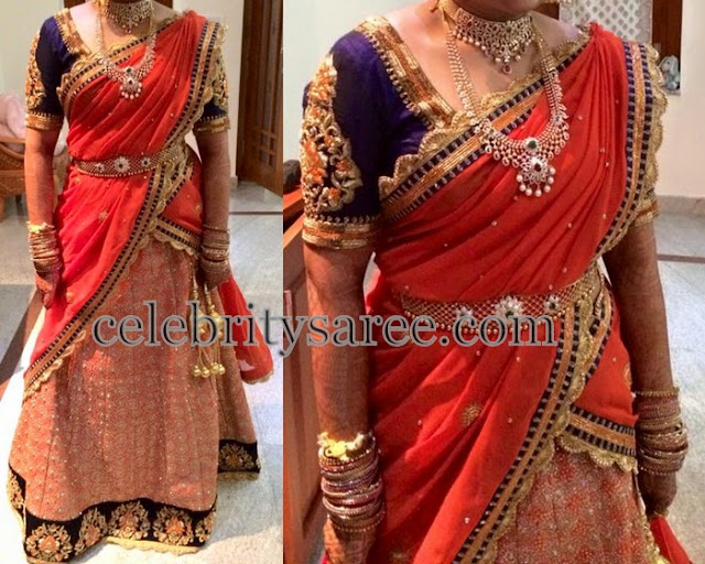 Bride in Tri Color Brocade Half Sari