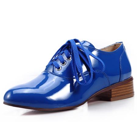 Сини дамски обувки мъжки тип